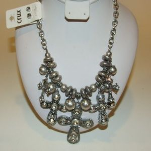 Jewelry - Faith Cross Necklace & Earring Set W/Crystals